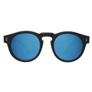 Illesteva Leonard Sunglasses: Black w/ Blue Mirror